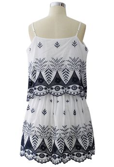 Embroidered Tiered Dress
