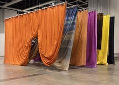 Seven Curtains by Ulla Von Brandenburg Arched Window Treatments, Fabric Installation, Furniture Showroom, Curtain Designs, Room Set, Set Design, Backdrops, Design Inspiration, Interior