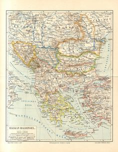 1893 Original Antique Dated Map of the by CabinetOfTreasures