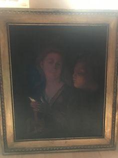 """Godfried Schalken holland barokk festo """"Holgy es fiu gyertyaval"""" c.festmeny masolat csaladi oroksegbol elado Merete kerettel 80x95, keret nelkul 60x75"""