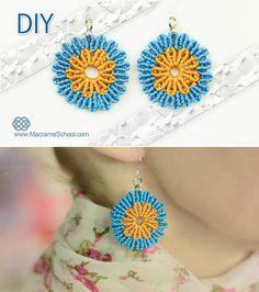 DIY Circular Flower Earrings - Tutorial ✿ #DIY #Macrame #Circular #Flower #Earrings #Tutorial