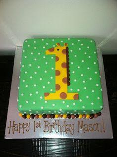 Sweet Melissa's: Giraffe 1st Birthday Cake