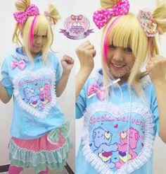 RARE Harajuku Sweet Heart Carebear Lace Hoody Baby Blue | eBay