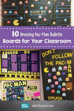 10 Amazing Pac-Man Bulletin Boards for Your Classroom. These bulletin boards are a fun way to bring a fun twist on games to your classroom. Back To School Bulletin Boards, Classroom Bulletin Boards, Classroom Themes, Preschool Bulletin, Classroom Design, Pac Man, School Signage, Teacher Boards, Teacher Table