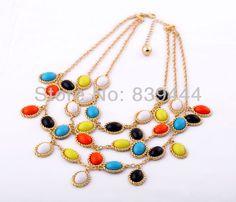 Fashion Jewelry Charm Colorful Stone Set Chokers Necklace
