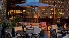 Unwind at the Peninsula New York's roof top bar, overlook Manhattan while you enjoy a casual and private dinner.