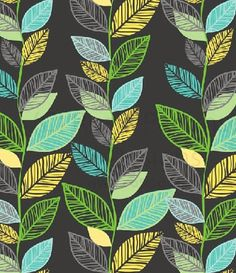 print & pattern leaves aqua teal turquoise green yellow