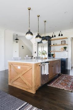Farmhouse kitchen island with crossed sides and shiplap The x with shiplap kitchen island is Hickory with a natural stain Kitchen Inspirations, Shiplap Kitchen, Farmhouse Style Kitchen, Kitchen Style, Hickory Kitchen, Hickory Kitchen Cabinets, Farmhouse Kitchen Island, Kitchen Remodel, Kitchen Renovation