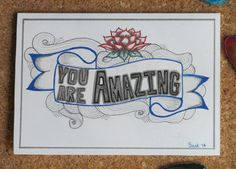 hand drawn you are amazing greeting card by AmoryPapel on Etsy, $4.00