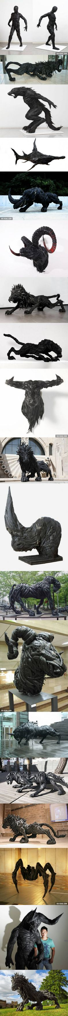 Sculptures made from recycled old tires
