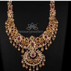 Necklace Indian Bridal Jewelry Sets, Bridal Jewellery, Wedding Jewelry, Beaded Jewelry, Diamond Jhumkas, Gold Jewelry Simple, Sams, Gold Jewellery Design, Jewelry Patterns