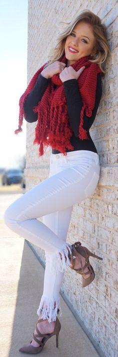 #spring #fashion /  Black Knit / Red Scarf / White Skinny Jeans