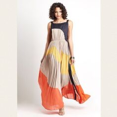 """Gracia Accordian Colorblock Maxi Dress This stunner will leave a mark at whatever event you wear it to. But on carefree days, it can be styled casually as well! Can be worn simply without accessories or layered with jackets and alternative belts. Very well tailored with a hidden side zipper and unnoticeable belt loops. If bought at asking price, I will include the multi-paneled tortoise-shell belt as your free gift. Material: 95% Polyester, 5% Spandex   Care: Hand Wash Cold   Bust: 34""""…"""