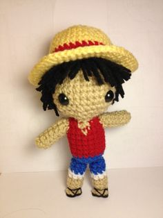 Here is the pattern for my Luffy doll that I made as a request from a friend. He stands at about 8.5 inches or 21 cm tall with the hat. He only stretches as long as the yarn allows him. The pattern...