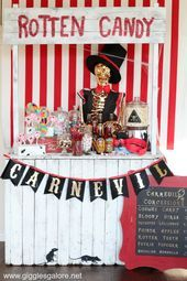 Halloween CarnEVIL Rotten Candy Stand Halloween Camping, Halloween Clown, Freakshow Halloween, Halloween Candy Buffet, Halloween Movie Night, Halloween Karneval, Adult Halloween Party, Halloween Birthday, Halloween Party Decor