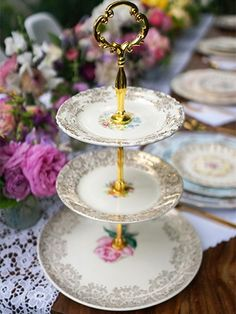 diy dessert stand-What a great way to display China pieces that were passed down without the entire set.