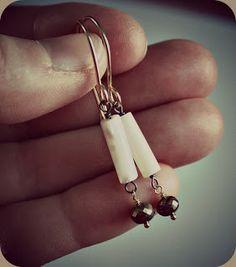 Vintage inspired earrings: MOP, pyrite, sterling silver, GF