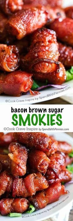 Brown Sugar Bacon Wrapped Smokies – Spend With Pennies One of my favorite recipes! Easy and Amazing! Little Smokies Recipes, Bacon Wrapped Little Smokies, Bacon Wrapped Chicken, Chicken Bacon, Healthy Camping Snacks, Clean Eating Snacks, Camp Snacks, My Favorite Food, Favorite Recipes
