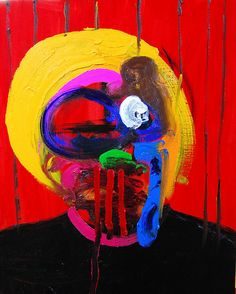 Red-self-Portrait: Japanese artist Kohei Akiba's (b1982) self-portraits have a fascinating, and sometimes slightly disturbing, edge to them. He uses rough paint strokes, mixtures of simple yet bold colors, and chaotic compositions to create agitated and abstract faces.