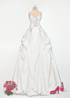 Custom Wedding Dress Illustration on dress by ForeverYourDress