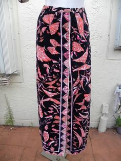 972841f9ac Emilio Pucci Amazing 70's Long Velvet Skirt in Black & Pink. How cool to