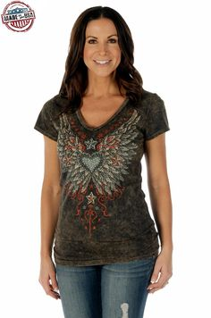 Look at this Liberty Wear Brown Wings V-Neck Tee - Women & Plus on today! Country Girl Shirts, Country Outfits, Country Girls, Harley Davidson Tank Tops, Cute Tops, V Neck Tee, Black Tops, What To Wear, Short Sleeve Dresses