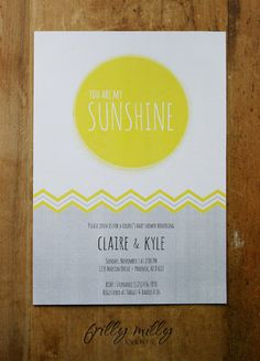 PRINTABLE INVITATION DESIGN - You Are My Sunshine collection by Frilly Milly. $15.00, via Etsy.