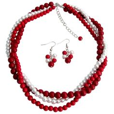 Price  :$17.99 Chunky Twisted Braided Three Strands In Red Coral & White Pearls Necklace Set Material : Necklace & Earrings - Glass Pearls size - 6mm Red & White pearls with 8mm Coral pearls. Color : Red / White / Black Necklace Length : 16 inches with 2 1/2 inches extension Earrings Length : 1/14 inches Earrings Type : French hook nickel free