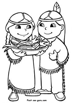 Printable Thanksgiving Indians Coloring Page