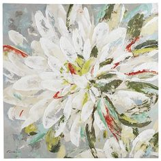 Beautiful bold brush strokes create the almost abstract floral bloom on our dramatic wall art. Bright and emblematic of a peaceful springtime garden, this piece will liven any space and makes an instantly eye-catching addition to your home decor.