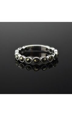 925 Thai Silver Marcasite Eternity Band Ring