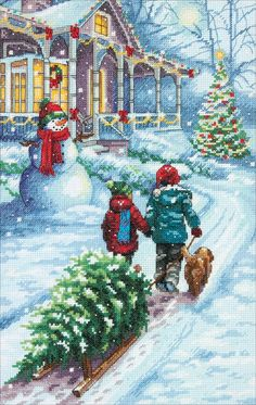 Christmas Tradition by Dimensions Cross Stitch Games, Cute Cross Stitch, Cross Stitch Borders, Counted Cross Stitch Patterns, Cross Stitch Christmas Ornaments, Christmas Cross, Merry Christmas Gif, Crochet Cross, Christmas Sewing