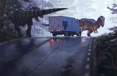 Post apocalyptic t-rexes find an ice cream truck. Come on, don't dinosaurs need ice cream too??