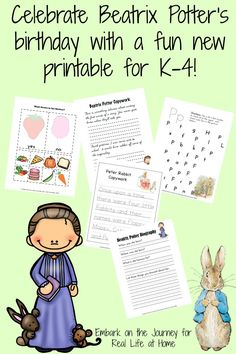 To celebrate Beatrix Potter's birthday on July 28th, we're sharing a free Beatrix Potter printables set, as well as other unit study resources.