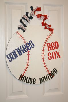 LOVE THIS!! House Divided Yankees Red Sox Baseball Sports by aWhimsicalWelcome, $28.00