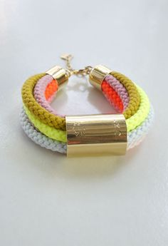Rope Bracelet - Neon. Would love to dye some cotton braided cord and use that sheet of copper I have lying around...