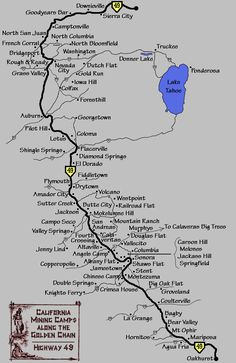 Mining Camp Map Highway 49