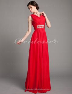 Bridesire - Sheath/Column Chiffon V-neck Draped Floor-length Mother of the Bride Dress [172698] - US$118.99 : Bridesire