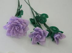 3 french beaded flowers handmade roses by LaurasBeadCreations, $33.99
