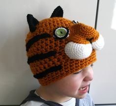 Crochet hat pattern, crochet baby tiger hat pattern, animal crochet hat pattern #tigerhatpattern #crochetpattern