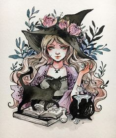 witch and black cat art - Art - Katzen Halloween Illustration, Illustration Art, Halloween Drawings, Halloween Halloween, Halloween Artwork, Art Illustrations, Character Illustration, Art Sketches, Art Drawings