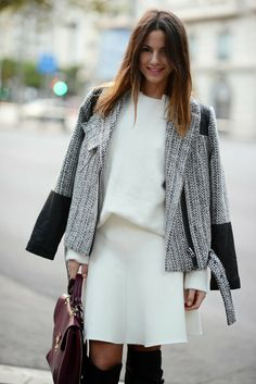 white high neck sweater over white skirt