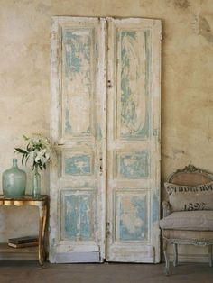 Really diggin' the paint on these old doors! I want this room! From Ticking and Toile: ~neutral heaven~