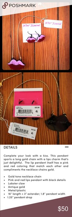 💋 NWT Betsey Johnson RARE Earrings & Necklace Set Brand new with tags Betsey Johnson earrings AND pendant necklace! The perfect gift set! From her rare and limited edition Betsey Plexi line, sold out everywhere. Never worn and in pristine condition. These are super fun, girly and unique, not the typical BJ jewelry! Pop art and Andy Warhol vibes. Sold for $35 EACH, combined value of $70. Please feel free to ask any questions and make an offer! :) Betsey Johnson Jewelry Necklaces