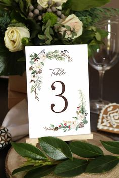Editable Christmas Wedding Table Number, 4x6, 5x7, Winter Greenery, White Floral, Christmas Floral, Rustic, Berries, Corjl Template 336 Wedding Reception Table Decorations, Floral Wedding Decorations, Reception Signs, Wedding Table Numbers, Decor Wedding, Template, Simple Wedding Invitations, As You Like, Wedding Signs