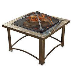 Sunjoy 32-Inch Wood Burning Slate Firepit