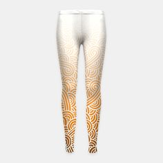 """""""Ombre orange and white swirls zentangle"""" Girl's Leggings by @savousepate on Live Heroes #leggings #leggins #pants #kidsclothing #kidsapparel #drawing #pattern #zentangles #doodles #abstract #white #orange #apricot #bronze #copper #ocher #brown #ombre #gradient #autumncolors #fallcolors"""