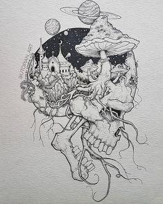 Pin by rock neptune on to do çizimler, çizim fikirleri, sana Trippy Drawings, Dark Art Drawings, Tattoo Design Drawings, Art Drawings Sketches, Cool Drawings, Tattoo Sketches, Tattoo Designs, Unique Drawings, Ink Illustrations