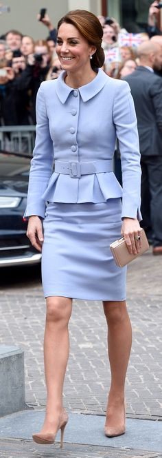 Bespoke Catherine Walker skirt suit, Gianvito Rossi suede pumps, LK Bennett Nina clutch, and the Queen's pearl earrings
