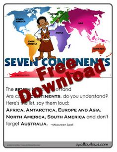 Continent Geography Game with Free Printable from Spell Outloud